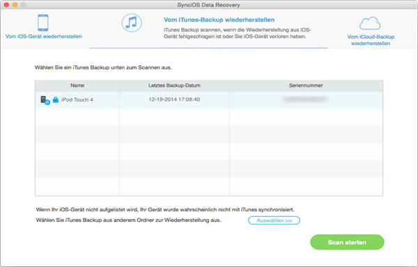 Liste der iTunes Backups